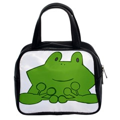 Illustrain Frog Animals Green Face Smile Classic Handbags (2 Sides) by Mariart