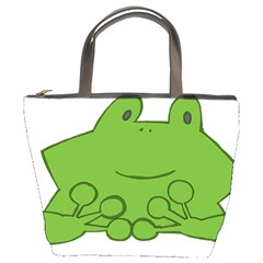 Illustrain Frog Animals Green Face Smile Bucket Bags by Mariart