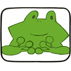 Illustrain Frog Animals Green Face Smile Double Sided Fleece Blanket (mini)