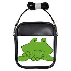 Illustrain Frog Animals Green Face Smile Girls Sling Bags by Mariart