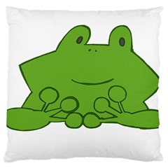 Illustrain Frog Animals Green Face Smile Large Cushion Case (two Sides) by Mariart