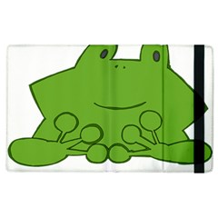 Illustrain Frog Animals Green Face Smile Apple Ipad 2 Flip Case by Mariart