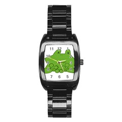 Illustrain Frog Animals Green Face Smile Stainless Steel Barrel Watch by Mariart