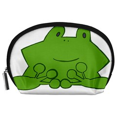 Illustrain Frog Animals Green Face Smile Accessory Pouches (large)  by Mariart