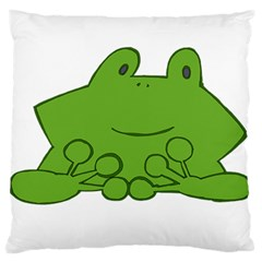 Illustrain Frog Animals Green Face Smile Large Flano Cushion Case (two Sides)
