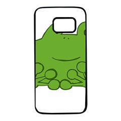 Illustrain Frog Animals Green Face Smile Samsung Galaxy S7 Black Seamless Case by Mariart