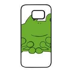 Illustrain Frog Animals Green Face Smile Samsung Galaxy S7 Edge Black Seamless Case