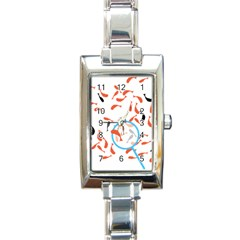 Illustrain Goldfish Fish Swim Pool Rectangle Italian Charm Watch by Mariart
