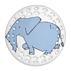 Illustrain Elephant Animals Ornament (round Filigree) by Mariart