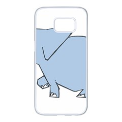 Illustrain Elephant Animals Samsung Galaxy S7 Edge White Seamless Case by Mariart