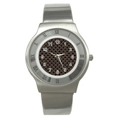 Scales2 Black Marble & Brown Colored Pencil Stainless Steel Watch by trendistuff