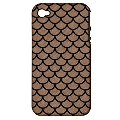 Scales1 Black Marble & Brown Colored Pencil (r) Apple Iphone 4/4s Hardshell Case (pc+silicone) by trendistuff
