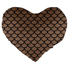 Scales1 Black Marble & Brown Colored Pencil (r) Large 19  Premium Flano Heart Shape Cushion by trendistuff