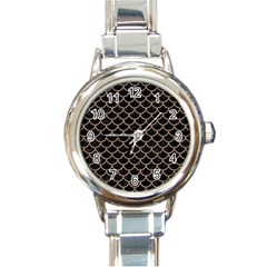 Scales1 Black Marble & Brown Colored Pencil Round Italian Charm Watch by trendistuff