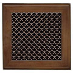 Scales1 Black Marble & Brown Colored Pencil Framed Tile by trendistuff