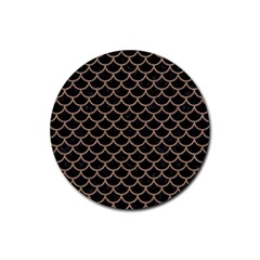 Scales1 Black Marble & Brown Colored Pencil Rubber Round Coaster (4 Pack) by trendistuff
