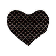 Scales1 Black Marble & Brown Colored Pencil Standard 16  Premium Heart Shape Cushion  by trendistuff