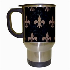 Royal1 Black Marble & Brown Colored Pencil (r) Travel Mug (white) by trendistuff