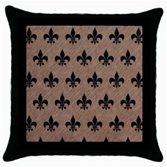 Royal1 Black Marble & Brown Colored Pencil Throw Pillow Case (black) by trendistuff
