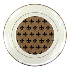 Royal1 Black Marble & Brown Colored Pencil Porcelain Plate by trendistuff