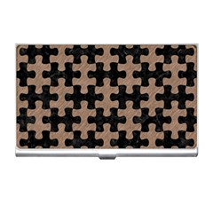 Puzzle1 Black Marble & Brown Colored Pencil Business Card Holder by trendistuff