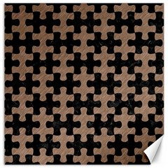 Puzzle1 Black Marble & Brown Colored Pencil Canvas 12  X 12  by trendistuff