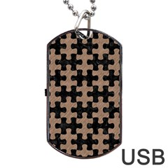 Puzzle1 Black Marble & Brown Colored Pencil Dog Tag Usb Flash (one Side) by trendistuff