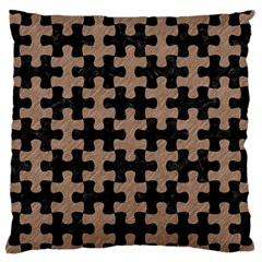 Puzzle1 Black Marble & Brown Colored Pencil Standard Flano Cushion Case (two Sides) by trendistuff
