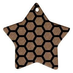 Hexagon2 Black Marble & Brown Colored Pencil (r) Ornament (star) by trendistuff