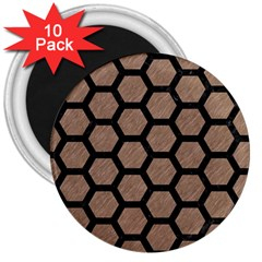 Hexagon2 Black Marble & Brown Colored Pencil (r) 3  Magnet (10 Pack) by trendistuff