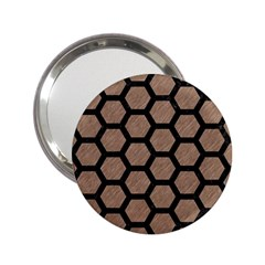 Hexagon2 Black Marble & Brown Colored Pencil (r) 2 25  Handbag Mirror by trendistuff