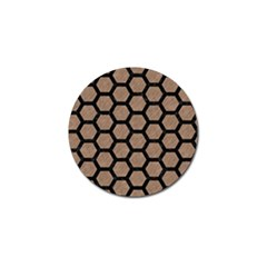 Hexagon2 Black Marble & Brown Colored Pencil (r) Golf Ball Marker (10 Pack)