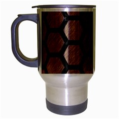 Hexagon2 Black Marble & Brown Colored Pencil (r) Travel Mug (silver Gray) by trendistuff