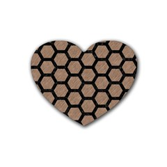 Hexagon2 Black Marble & Brown Colored Pencil (r) Rubber Coaster (heart) by trendistuff