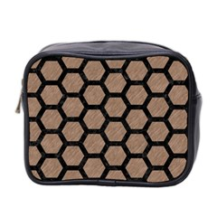 Hexagon2 Black Marble & Brown Colored Pencil (r) Mini Toiletries Bag (two Sides) by trendistuff