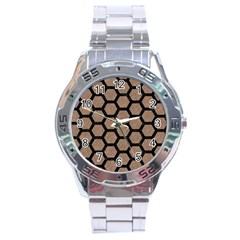 Hexagon2 Black Marble & Brown Colored Pencil (r) Stainless Steel Analogue Watch by trendistuff