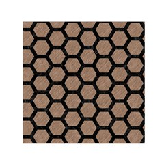 Hexagon2 Black Marble & Brown Colored Pencil (r) Small Satin Scarf (square) by trendistuff