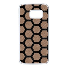 Hexagon2 Black Marble & Brown Colored Pencil (r) Samsung Galaxy S7 White Seamless Case by trendistuff