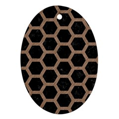 Hexagon2 Black Marble & Brown Colored Pencil Ornament (oval)