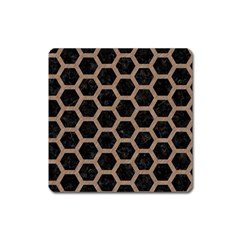 Hexagon2 Black Marble & Brown Colored Pencil Magnet (square) by trendistuff