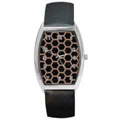 Hexagon2 Black Marble & Brown Colored Pencil Barrel Style Metal Watch by trendistuff