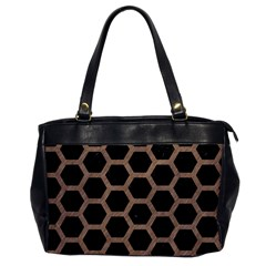 Hexagon2 Black Marble & Brown Colored Pencil Oversize Office Handbag by trendistuff