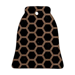 Hexagon2 Black Marble & Brown Colored Pencil Ornament (bell) by trendistuff