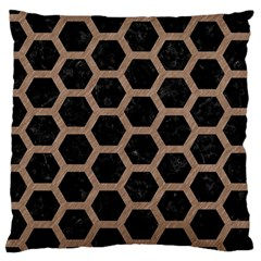 Hexagon2 Black Marble & Brown Colored Pencil Large Cushion Case (one Side) by trendistuff