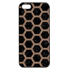 Hexagon2 Black Marble & Brown Colored Pencil Apple Iphone 5 Seamless Case (black) by trendistuff