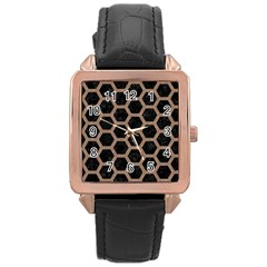 Hexagon2 Black Marble & Brown Colored Pencil Rose Gold Leather Watch  by trendistuff