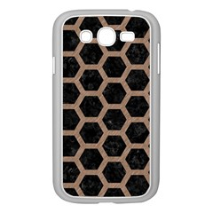 Hexagon2 Black Marble & Brown Colored Pencil Samsung Galaxy Grand Duos I9082 Case (white) by trendistuff