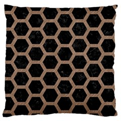 Hexagon2 Black Marble & Brown Colored Pencil Standard Flano Cushion Case (one Side) by trendistuff