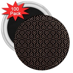 Hexagon1 Black Marble & Brown Colored Pencil 3  Magnet (100 Pack) by trendistuff