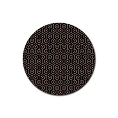 Hexagon1 Black Marble & Brown Colored Pencil Rubber Coaster (round) by trendistuff